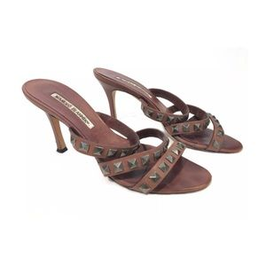 Manolo Blahnik brown leather studded sandals 38.5